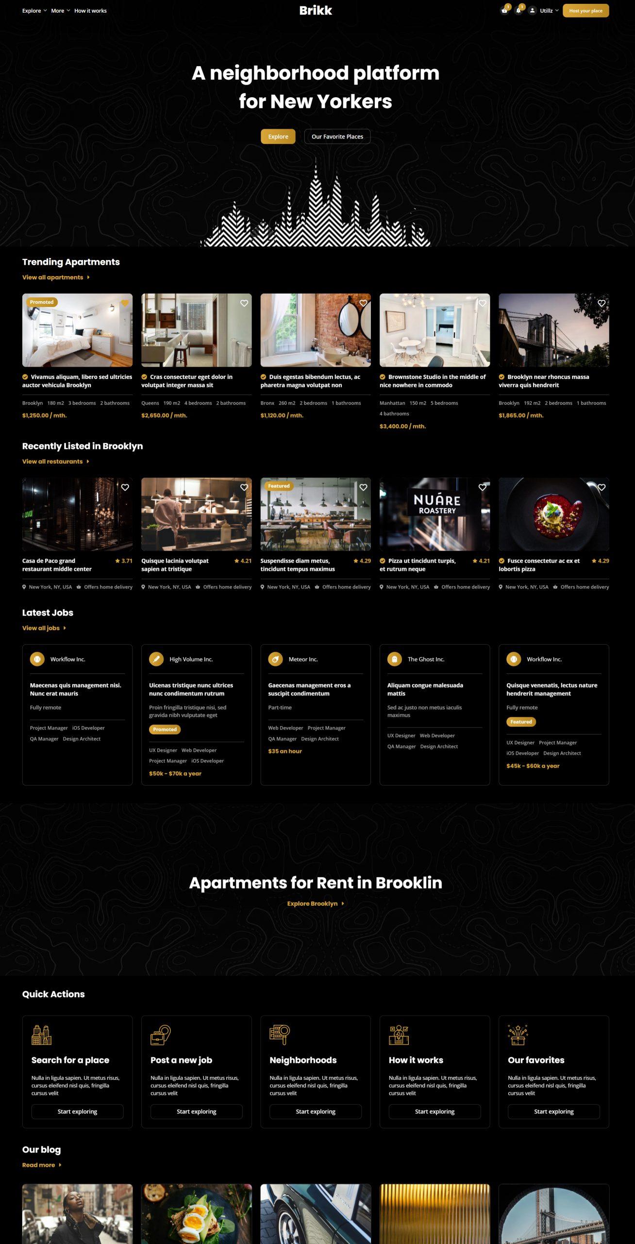 Brikk WordPress Theme - Demo Apartments